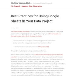 Best Practices for Using Google Sheets in Your Data Project