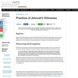 Practices of Jehovah's Witnesses