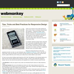 Tips, Tricks and Best Practices for Responsive Design