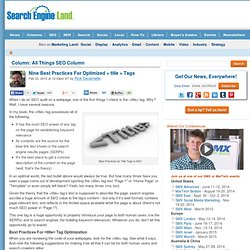 9 Best Practices Title Tag Search Engine Optimization - SEO