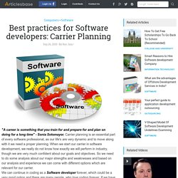 Best practices for Software developers: Carrier Planning
