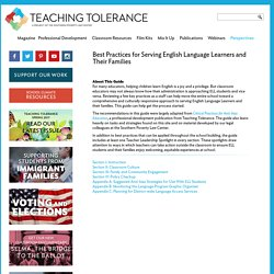 Best Practices for Serving English Language Learners and Their Families