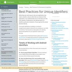 Best Practices for Unique Identifiers