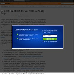 10 Best Practices for Website Landing Pages