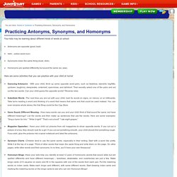 Practicing Antonyms, Synonyms, and Homonyms - English Lesson Plans for Kids