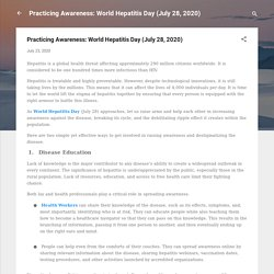 Practicing Awareness: World Hepatitis Day (July 28, 2020)