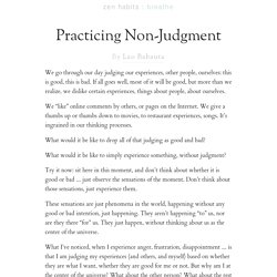 Practicing Non-Judgment