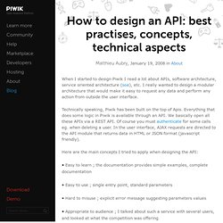 How to design an API: best practises, concepts, technical aspects
