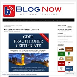 New GDPR Practitioner Certificate Launched!