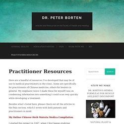 Practitioner Resources - Dr. Peter Borten