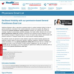 General Practitioners Email List : Mailing Addresses Database