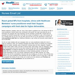 Nurse Practitioners Email List, Mailing Addresses and Database from Healthcare Marketers