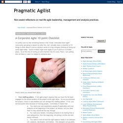 Pragmatic Agilist: A Corporate Agile 10-point Checklist