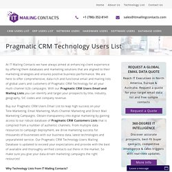 Pragmatic CRM Technology Users List