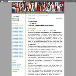 La certitude(Extraitd'Pragmatisme et sociologie)