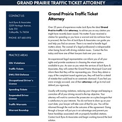 Grand Prairie Traffic Ticket Attorney, Traffic Ticket Attorney Texas
