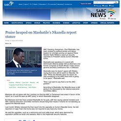 Praise heaped on Mashatiles Nkandla report stance:Friday 12 June 2015