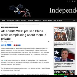 AP admits WHO praised China while complaining about them in private