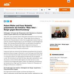 """Robert Pfaller und Franz Wuketits präsentieren die Initiative """"Mein Veto! - Bürger gegen Bevormundung"""""""
