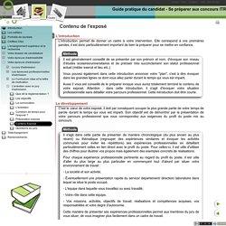 Guide pratique du candidat - Se préparer aux concours ITRF - Contenu Exposé