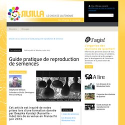 Guide pratique de reproduction de semences