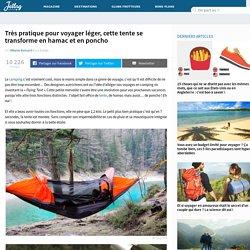 Très pratique pour voyager léger, cette tente se transforme en hamac et en poncho