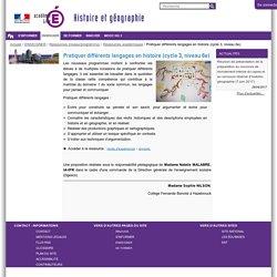 Pratiquer différents langages en histoire (cycle 3, niveau 6e) — HEG