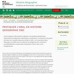 PRATIQUER L'ORAL EN HISTOIRE GEOGRAPHIE EMC