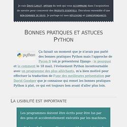Bonnes pratiques et astuces Python, dans bonnes pratiques, conferences, django, python, traduction sur BioloGeek