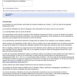 Les exceptions au droit d'auteur : fiche pratique du Ministère de la Culture