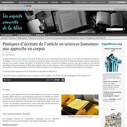 Pratiques d'écriture de l'article en sciences humaines: une approche en corpus