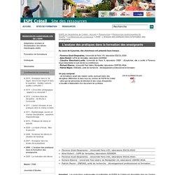 2006 - L'analyse des pratiques dans la formation des enseignants