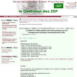 Le SGEN et L'UNSA publient des fiches pratiques sur les Enseignements(...)