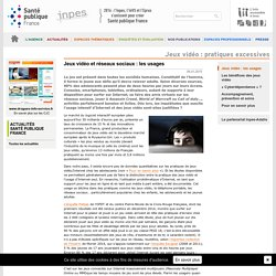 INPES - Article 2015 - Usage des jeux video en ligne