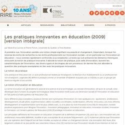 Les pratiques innovantes en éducation (version intégrale)
