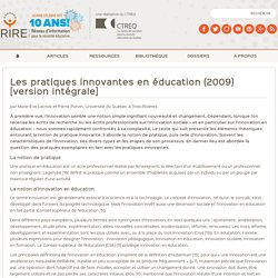 Pratiques innovantes en éducation