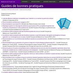 Guides de bonnes pratiques - Médecine du Travail .net