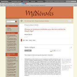 Éthique et pratiques médicales aux derniers siècles du Moyen Âge