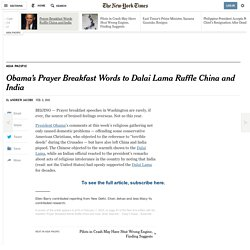 Obama's Prayer Breakfast Words to Dalai Lama Ruffle China and India