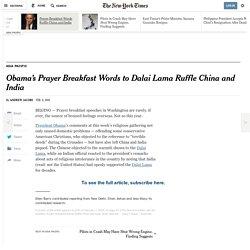 Obama's Prayer Breakfast Words to Dalai Lama Ruffle China and India