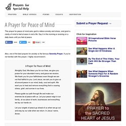 A Prayer for Peace of Mind - To Heal Anxiety and Stress