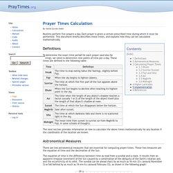 Prayer Times Calculation - Pray Times