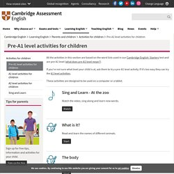 Pre-A1 level activities for children