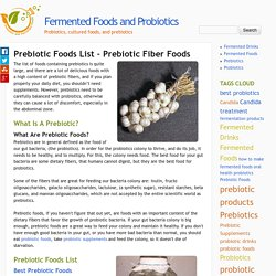 Prebiotic Foods List – Prebiotic Fiber Foods
