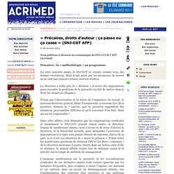 « Précaires, droits d'auteur : ça passe ou ça casse » (SNJ-CGT AFP)