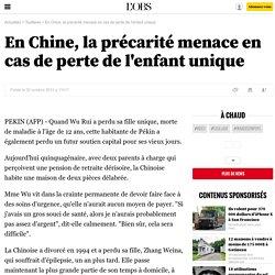 En Chine, la précarité menace en cas de perte de l'enfant unique - 2 octobre 2012