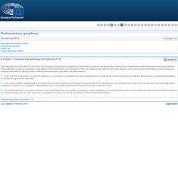 PARLEMENT EUROPEEN - Réponse à question P-000887-16 European precautionary principle and TTIP