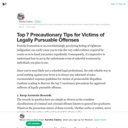 Top 7 Precautionary Tips for Victims of Legally Pursuable Offenses