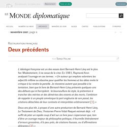 Deux précédents, par Serge Halimi (Le Monde diplomatique, novembre 2007)