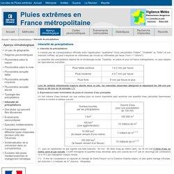 Intensité de précipitations - Pluies extrêmes en France métropolitaine